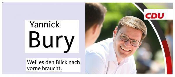 15. September: Miteinander in die Zukunft - CDU-Bundestagskandidat Yannick Bury (Bild) lädt zu Dialog mit Serap Güler (Integrations-Staatssekretärin in NRW) ein.