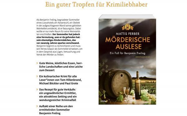 """28. Oktober: Kaiserstuhl-Krimi """"Mörderische Auslese"""" wird vorgestellt."""